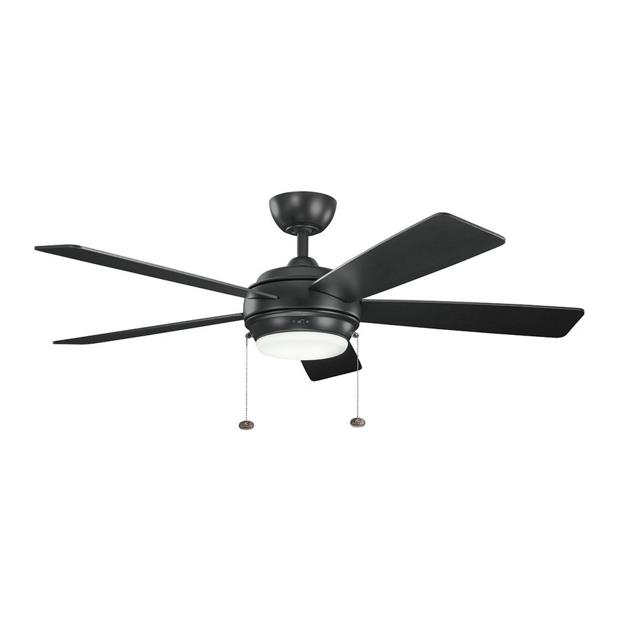 Kichler Starkk 52-in Satin black Indoor Downrod Mount Ceiling Fan with Light Kit