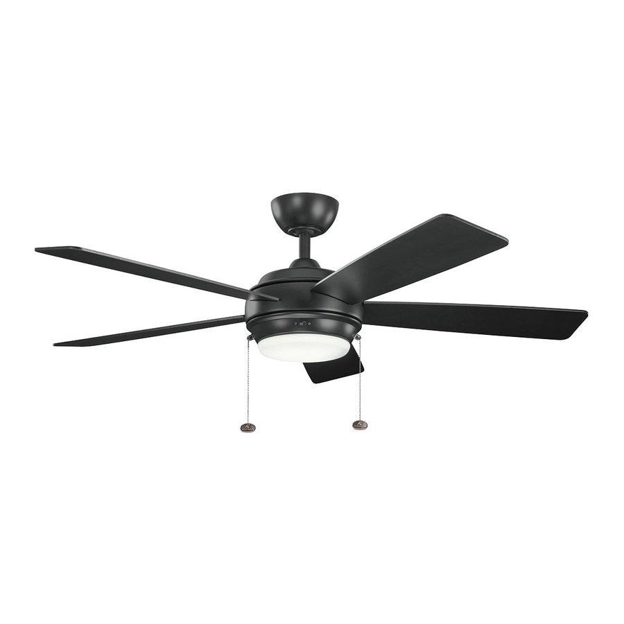 Kichler Lighting Starkk 52-in Satin Black Downrod Mount Indoor Ceiling Fan with Light Kit (5-Blade)