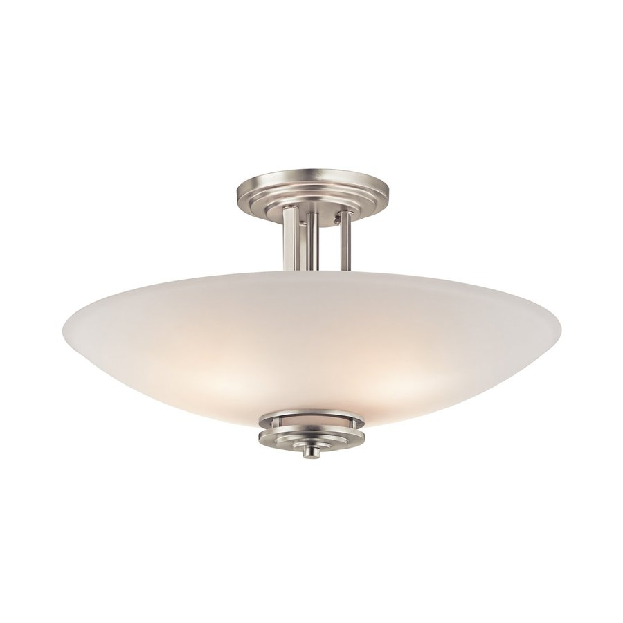 Kichler Hendrik 24-in W Brushed nickel Etched Glass Semi-Flush Mount Light