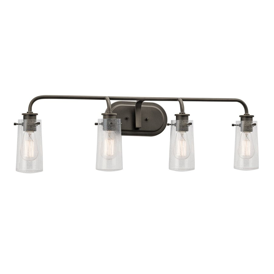 4 light bathroom light shop kichler braelyn 4 light 34 25 in olde bronze jar 15309