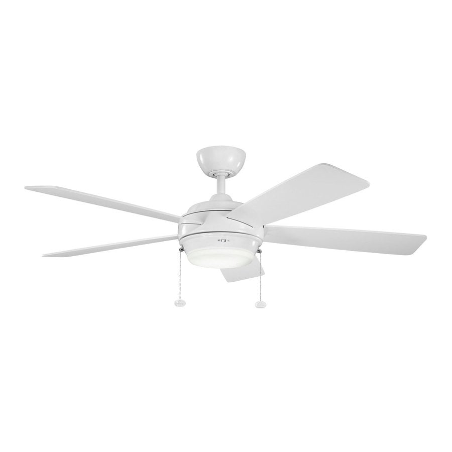 Kichler Starkk 52-in White Indoor Downrod Mount Ceiling Fan with Light Kit