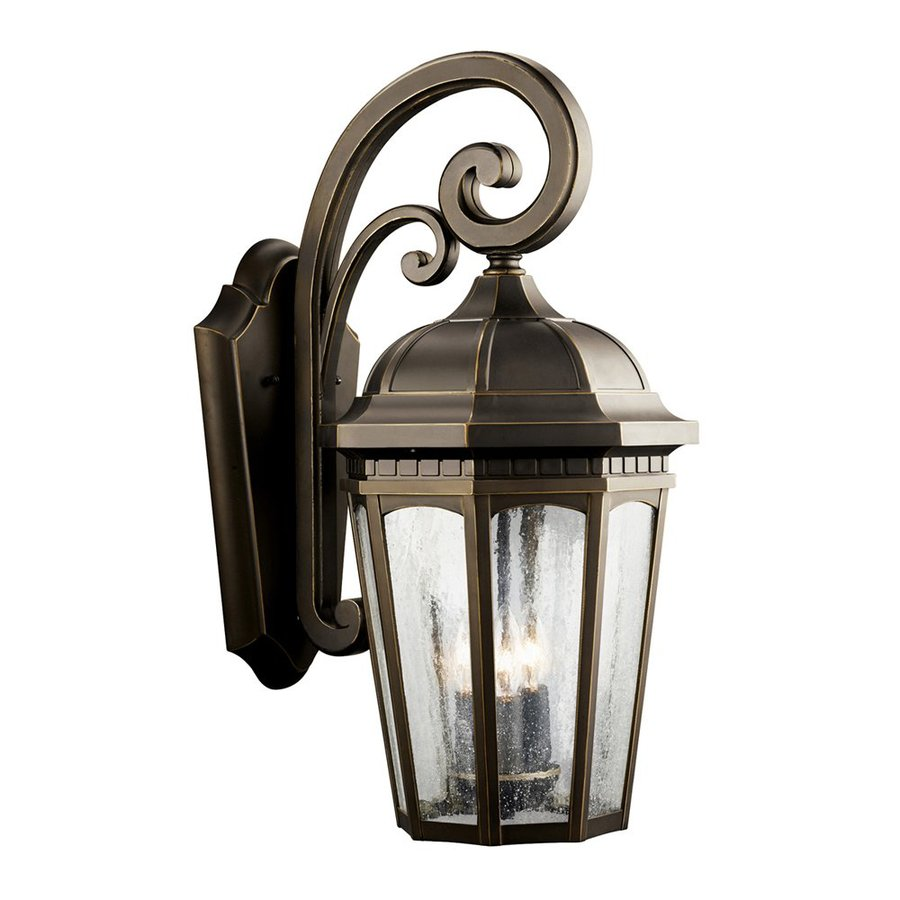 Kichler Courtyard 22.25-in H Rubbed Bronze Outdoor Wall Light