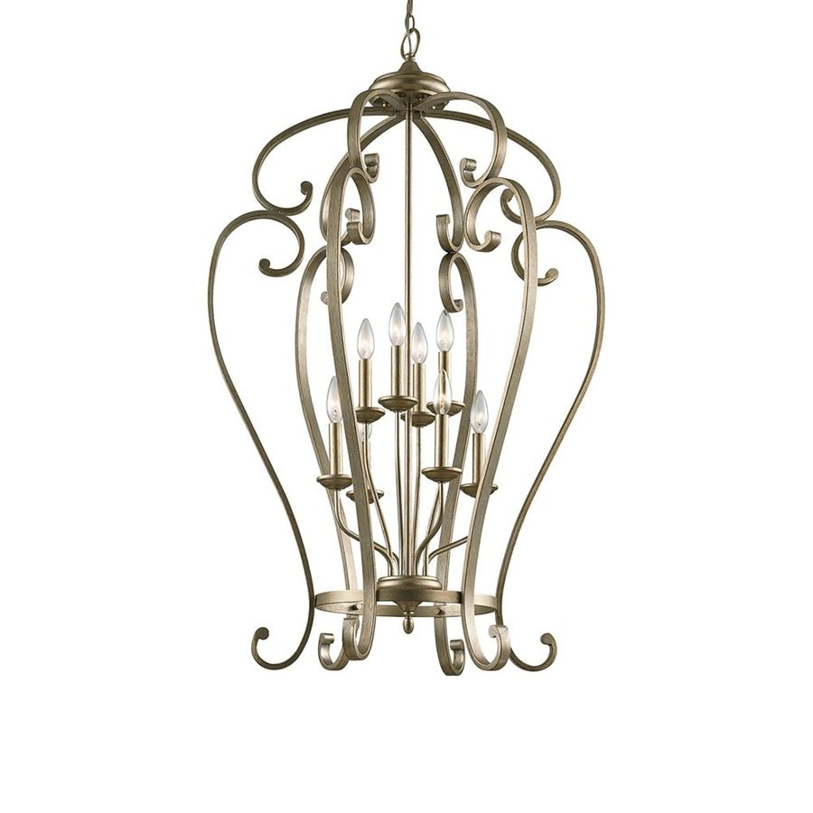Kichler Lighting Monroe 27-in Sterling Gold Country Cottage Hardwired Single Cage Pendant