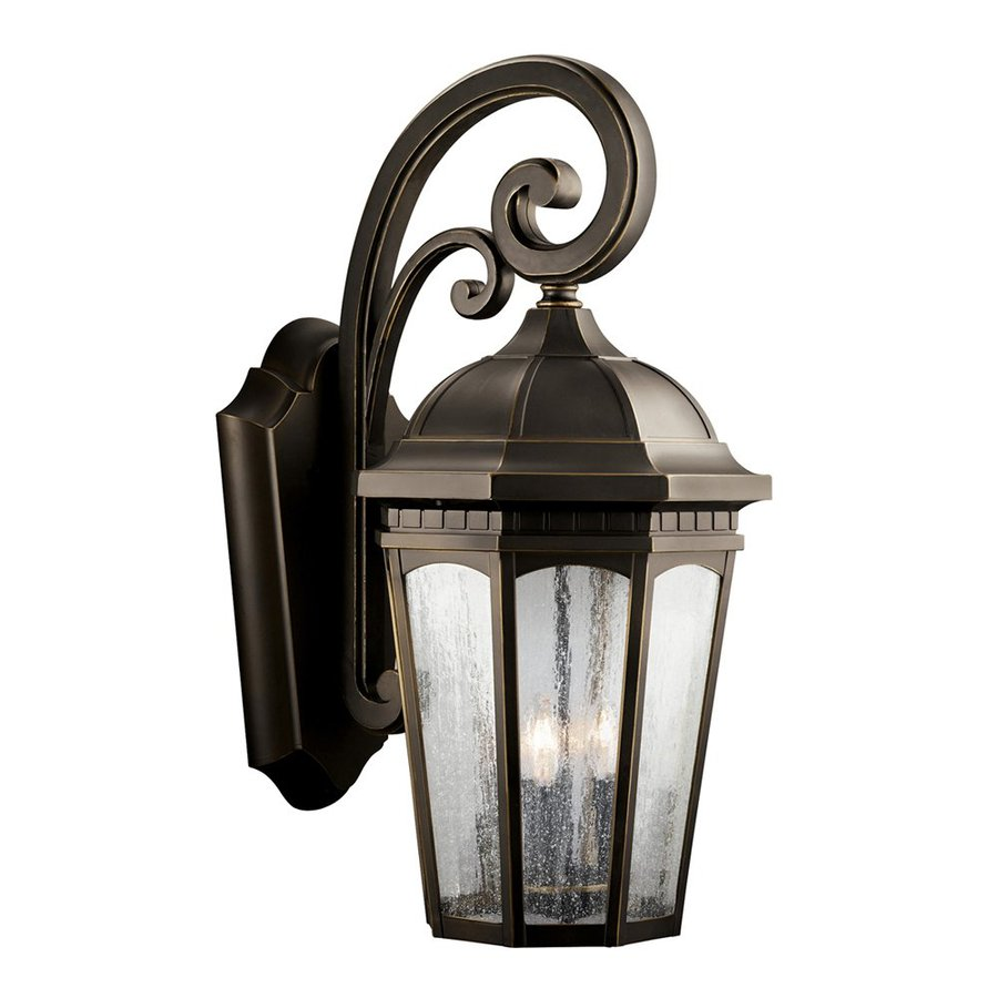 Kichler Courtyard 26.5-in H Rubbed Bronze Outdoor Wall Light