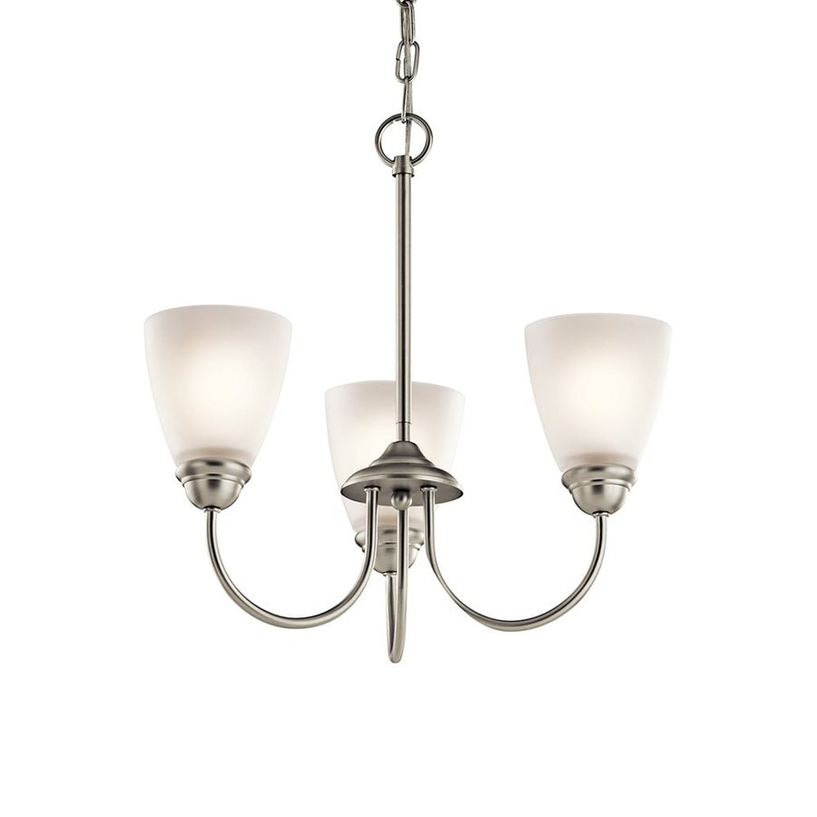 Kichler Jolie 18-in 3-Light Brushed Nickel Country Cottage Hardwired Etched Glass Shaded Chandelier