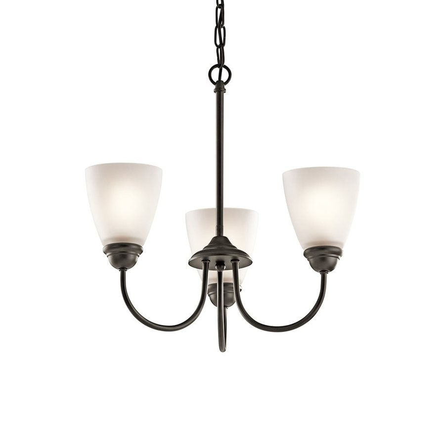 Kichler Lighting Jolie 18-in 3-Light Olde Bronze Country Cottage Etched Glass Shaded Chandelier