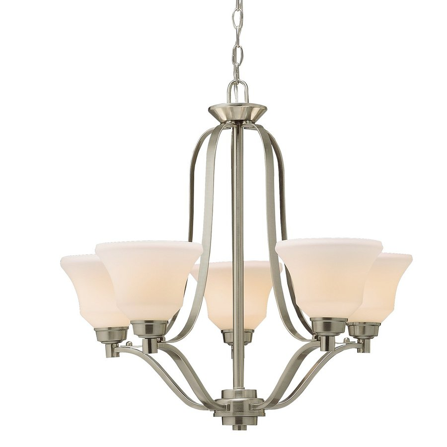 Kichler Lighting Langford 27.25-in 5-Light Brushed Nickel Country Cottage Etched Glass Shaded Chandelier