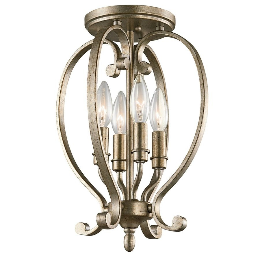 Kichler Lighting Monroe 10.5-in W Sterling Gold Glass Semi-Flush Mount Light