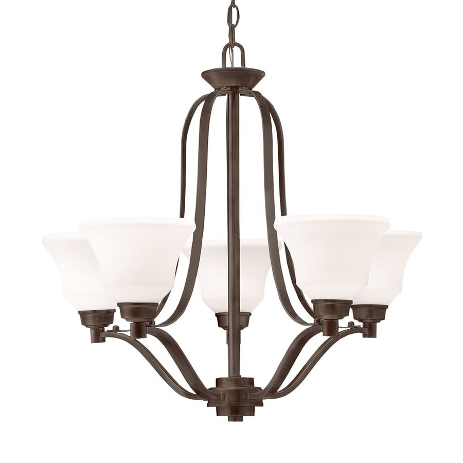 Kichler Langford 27.25-in 5-Light Olde bronze Country Cottage Etched Glass Shaded Chandelier