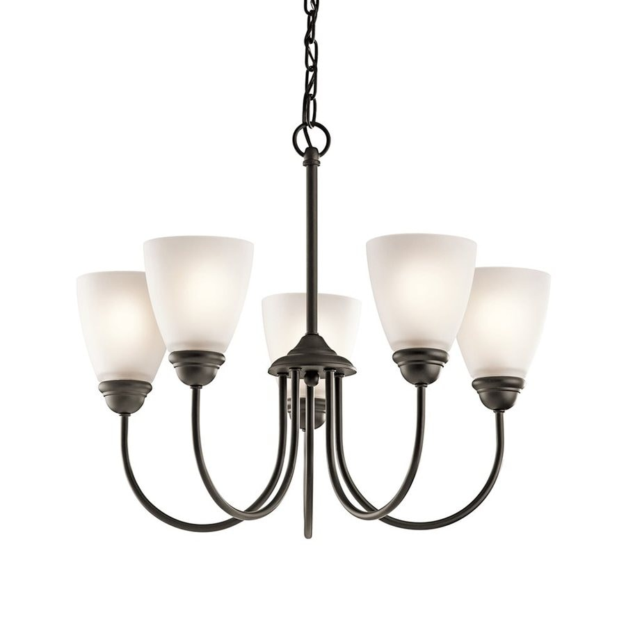 Kichler Jolie 22-in 5-Light Olde bronze Country Cottage Etched Glass Shaded Chandelier