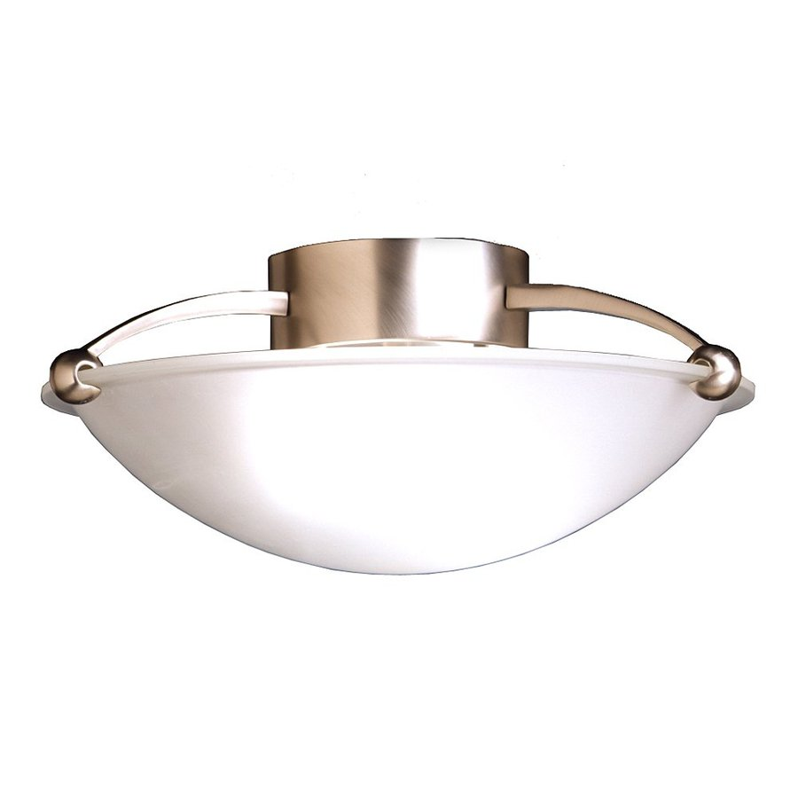 Kichler Lighting 15-in W Brushed Nickel Etched Glass Semi-Flush Mount Light