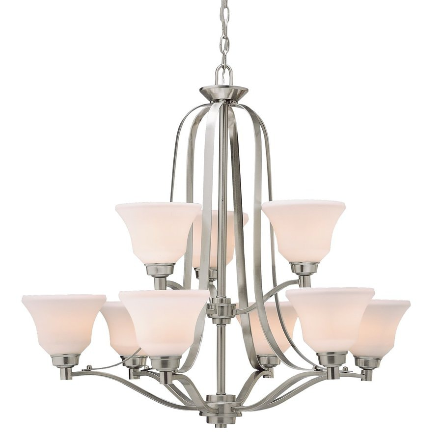 Kichler Langford 33-in 9-Light Brushed nickel Country Cottage Etched Glass Tiered Chandelier