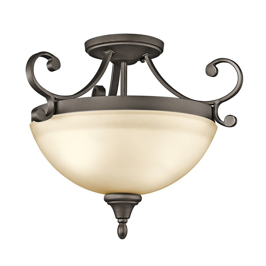 Kichler Monroe 17.25-in W Olde Bronze Etched Glass Semi-Flush Mount Light