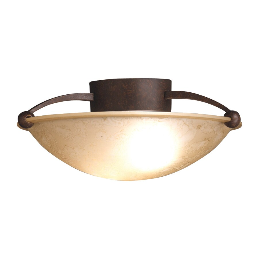 Kichler 15-in W Tannery Bronze Etched Glass Semi-Flush Mount Light