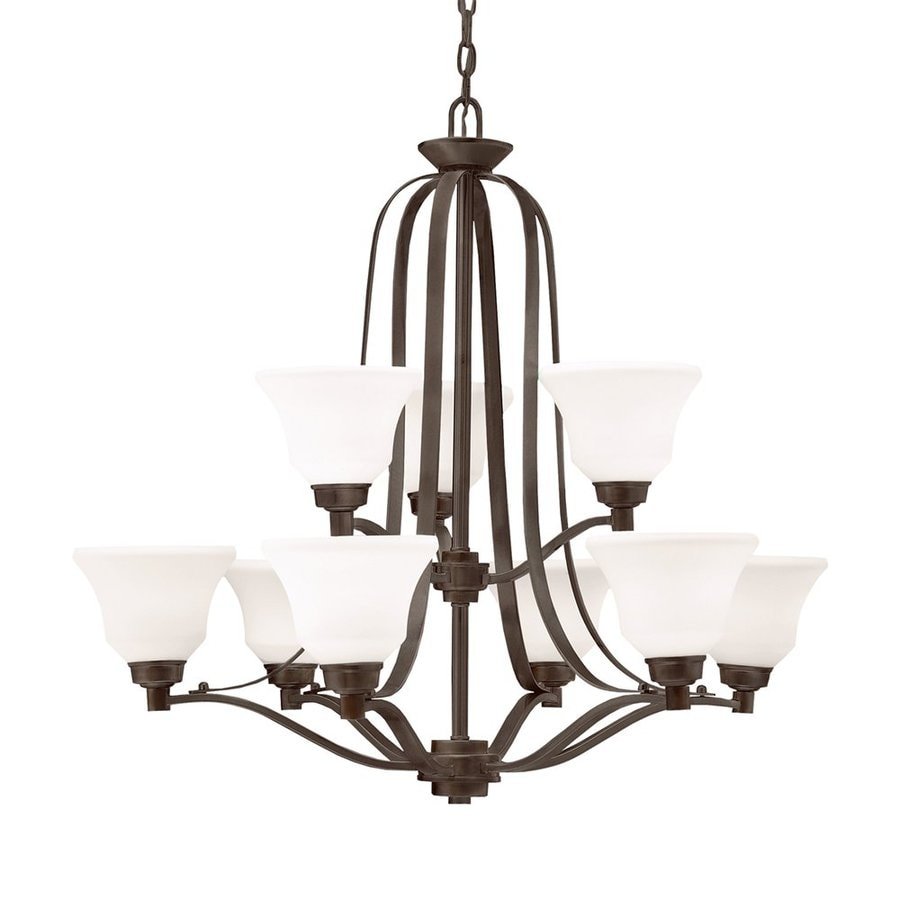 Kichler Lighting Langford 33-in 9-Light Olde Bronze Country Cottage Etched Glass Tiered Chandelier