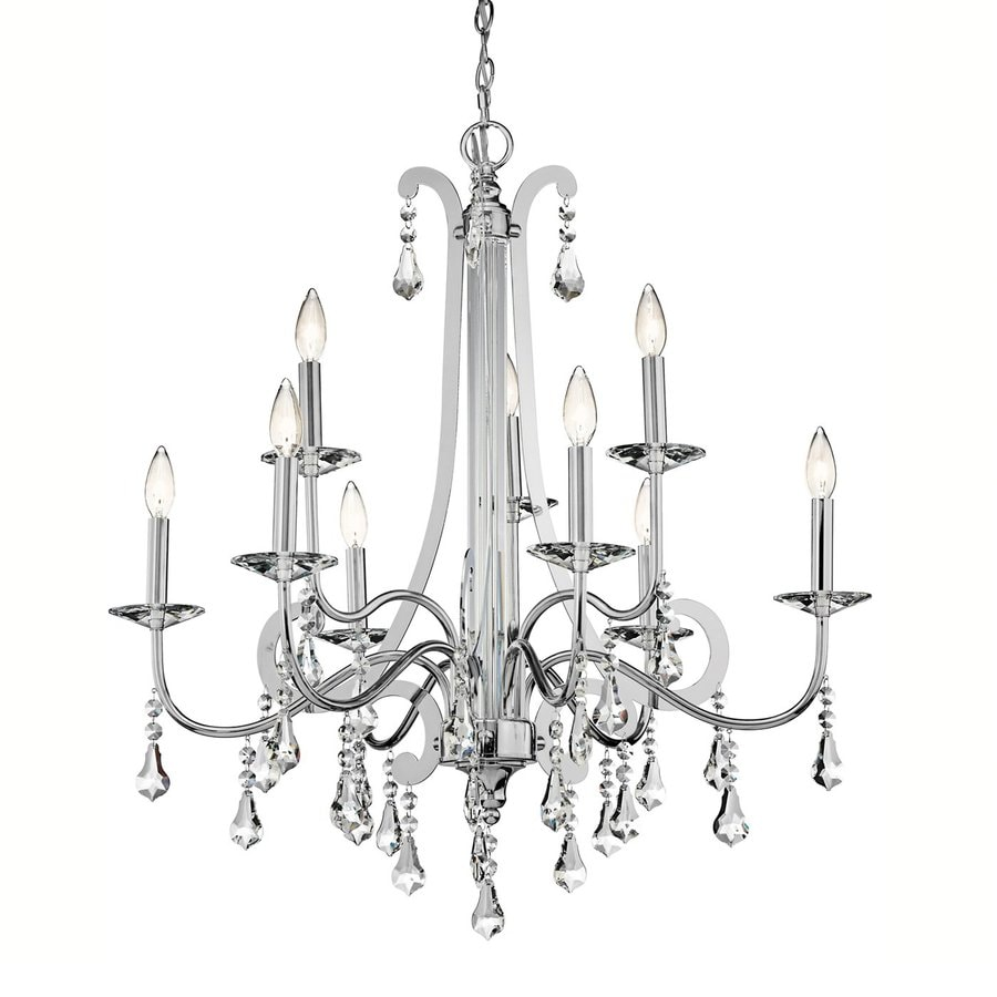 Kichler Leanora 34-in 9-Light Chrome Crystal Hardwired Tiered Chandelier