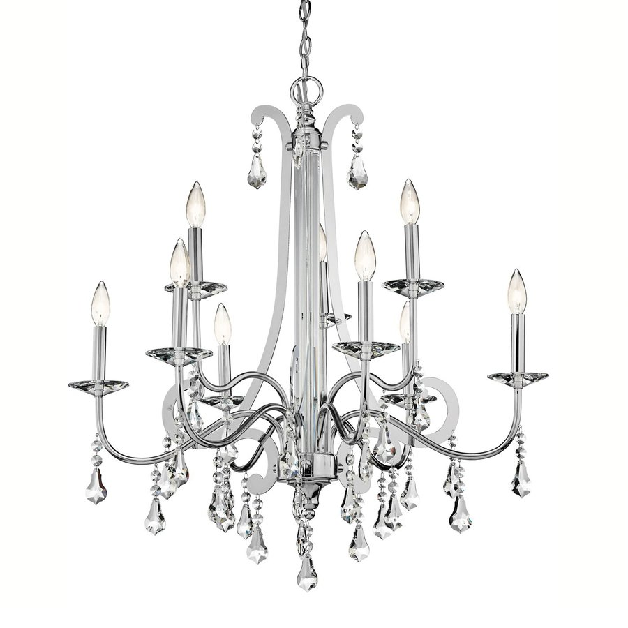 Kichler Leanora 34-in 9-Light Chrome Crystal Tiered Chandelier