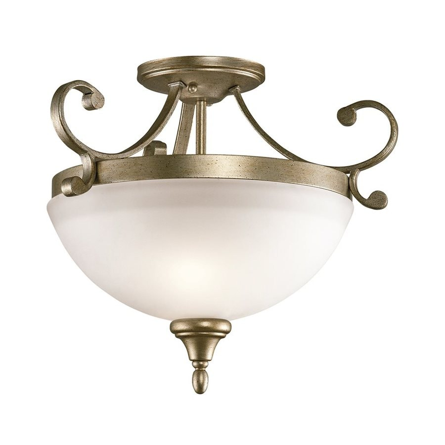 Kichler Lighting Monroe 17.25-in W Sterling Gold Etched Glass Semi-Flush Mount Light