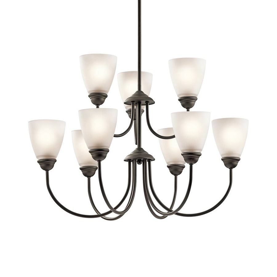 Kichler Lighting Jolie 28-in 9-Light Olde Bronze Etched Glass Tiered Chandelier