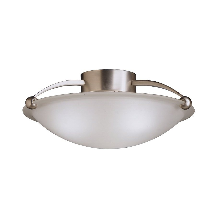shop kichler 17 in w brushed nickel etched glass semi