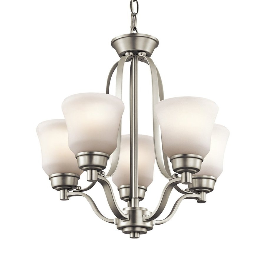 Kichler Lighting Langford 16.5-in 5-Light Brushed Nickel Etched Glass Shaded Chandelier