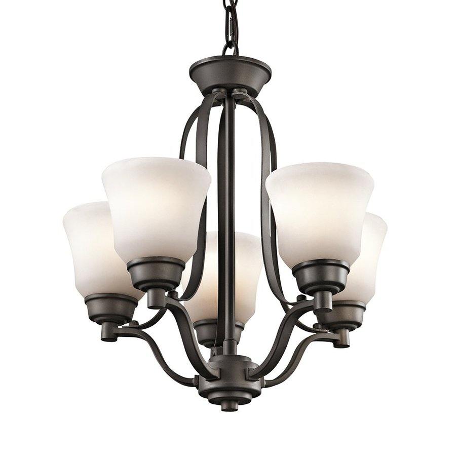 Kichler Langford 16.5-in 5-Light Olde Bronze Etched Glass Shaded Chandelier