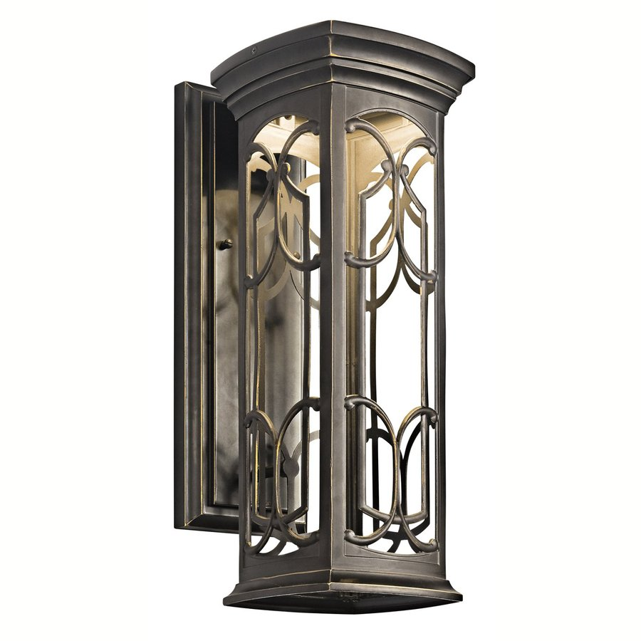 kichler franceasi 18 in h olde bronze dark sky led outdoor wall light