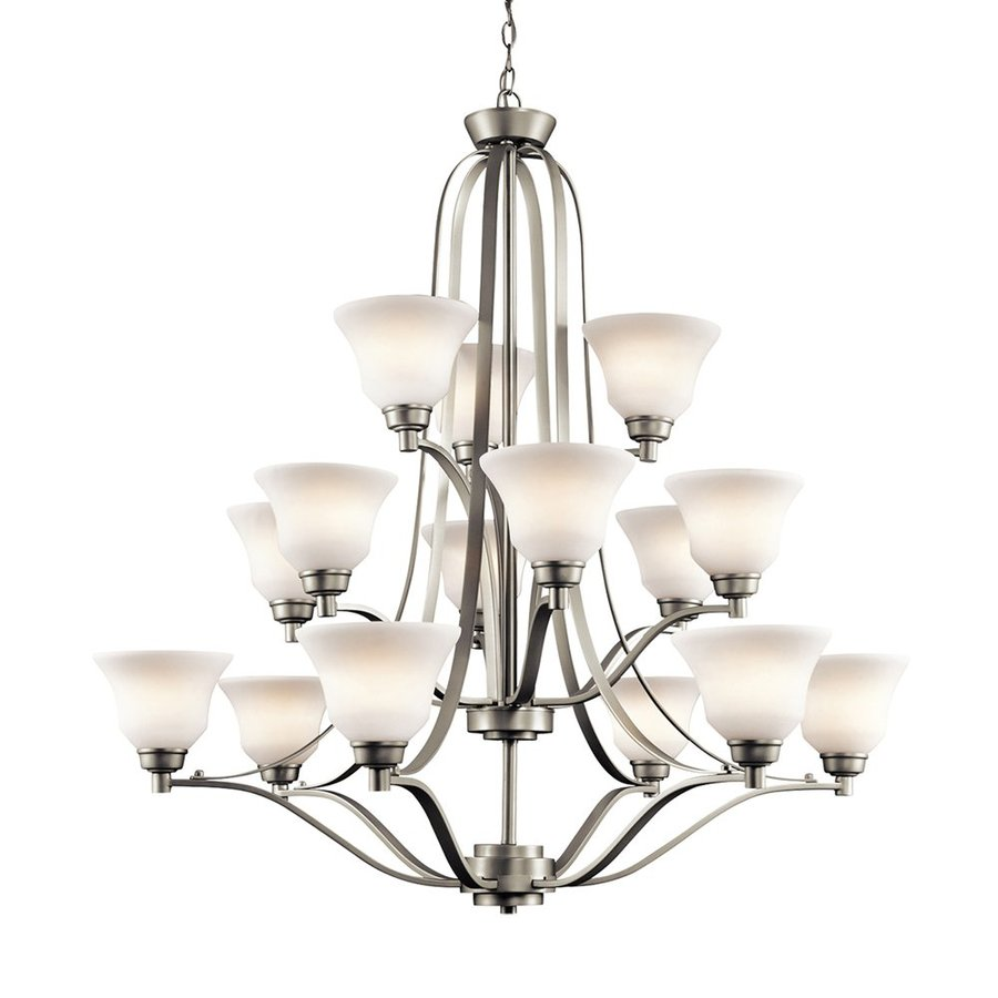 Kichler Lighting Langford 42-in 15-Light Brushed Nickel Etched Glass Tiered Chandelier