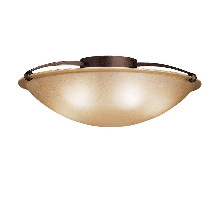Kichler Lighting 25-in W Tannery Bronze Etched Glass Semi-Flush Mount Light