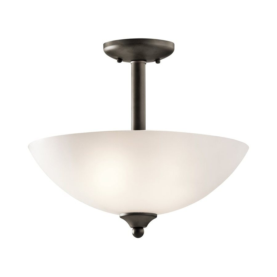 Kichler Lighting Jolie 15-in W Olde Bronze Etched Glass Semi-Flush Mount Light