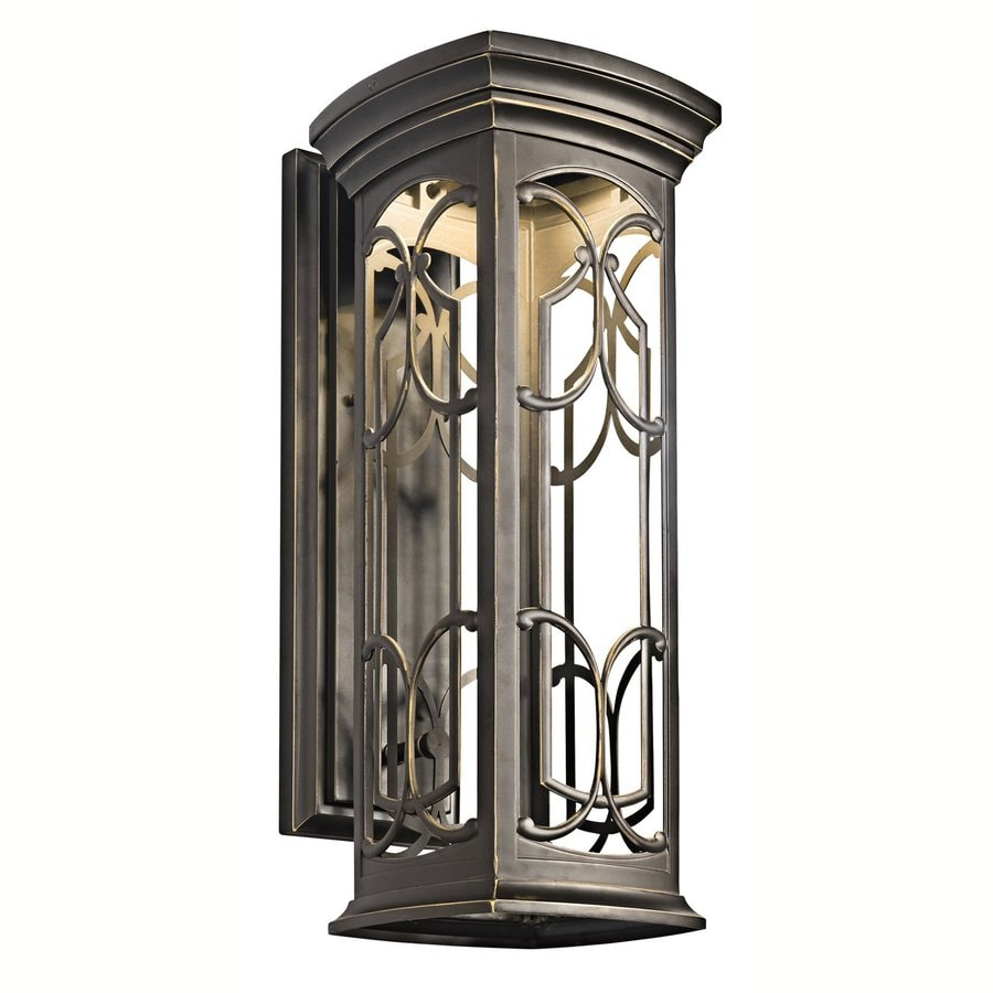 kichler franceasi 22 in h olde bronze dark sky led outdoor wall light