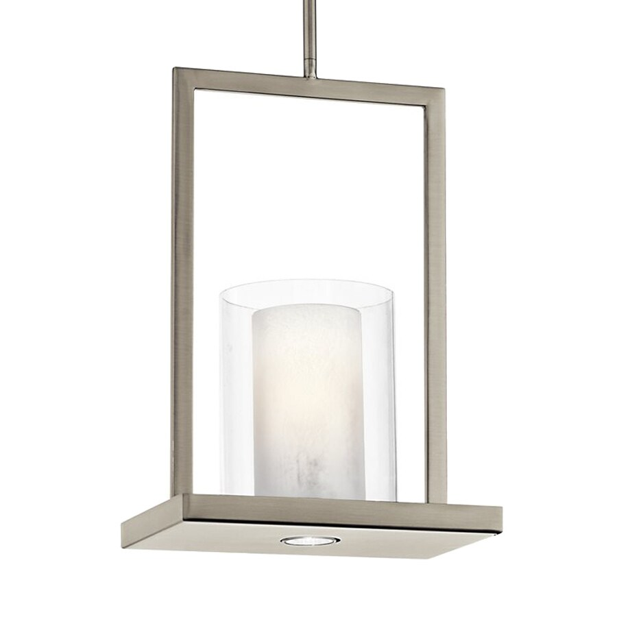Kichler Triad 7.75-in Classic Pewter Hardwired Mini Clear Glass Rectangle Pendant