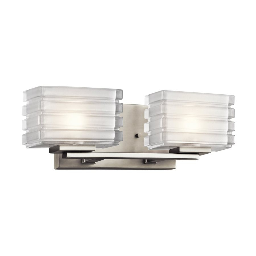 2 Light Vanity Light Brushed Nickel : Shop Kichler Lighting Bazely 2-Light 5-in Brushed Nickel Rectangle Vanity Light at Lowes.com