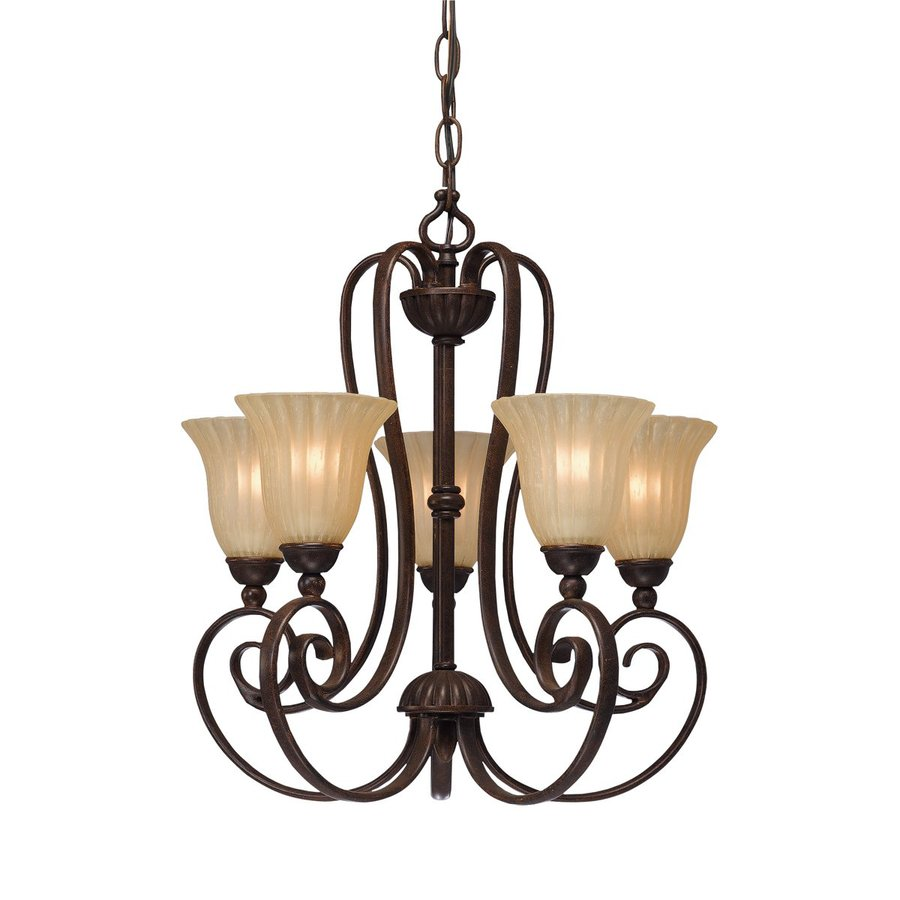 Kichler Willowmore 16.5-in 5-Light Tannery Bronze Mediterranean Hardwired Etched Glass Shaded Chandelier
