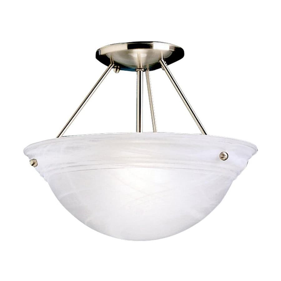 Kichler Lighting Cove Molding Top 13-in W Brushed Nickel Etched Glass Semi-Flush Mount Light