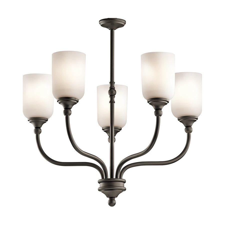 Kichler Lighting Lilah 24-in 5-Light Olde Bronze Vintage Etched Glass Shaded Chandelier