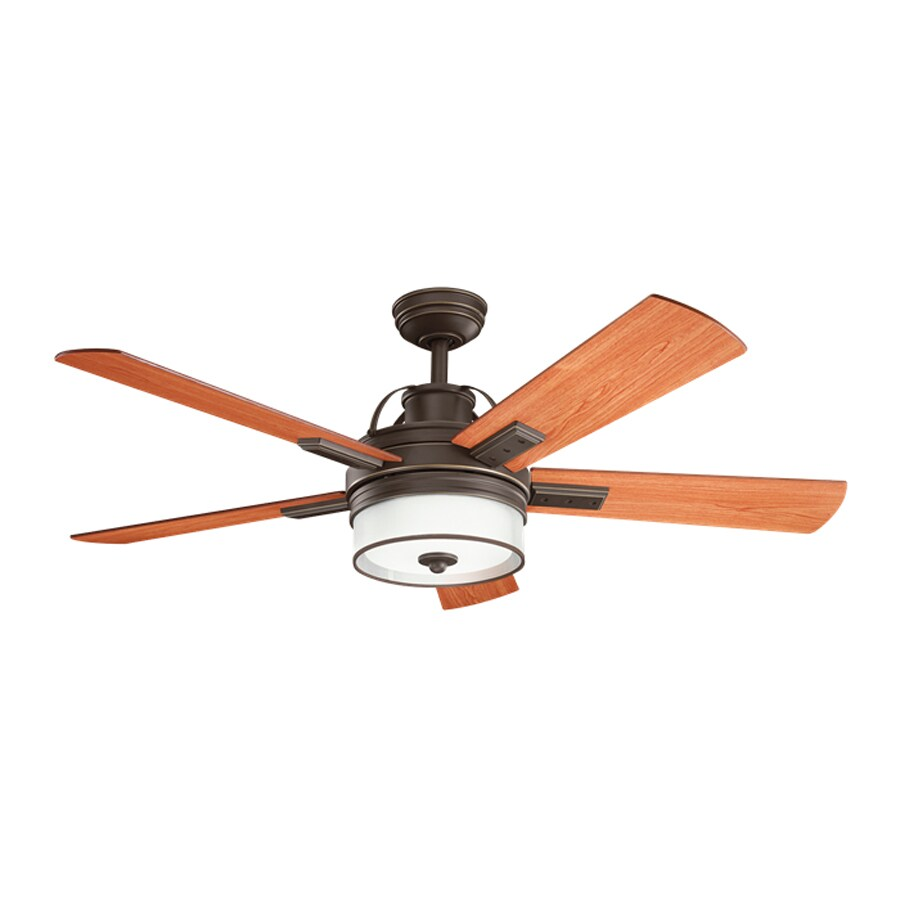 Kichler Lighting Lacey 52-in Olde Bronze Downrod Mount Indoor Ceiling Fan with Light Kit and Remote (5-Blade) ENERGY STAR