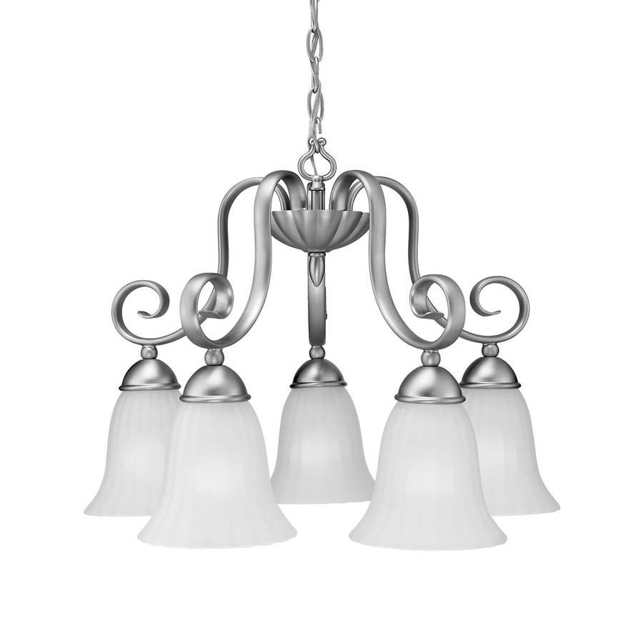 Kichler Lighting Willowmore 22-in 5-Light Brushed Nickel Country Cottage Etched Glass Shaded Chandelier