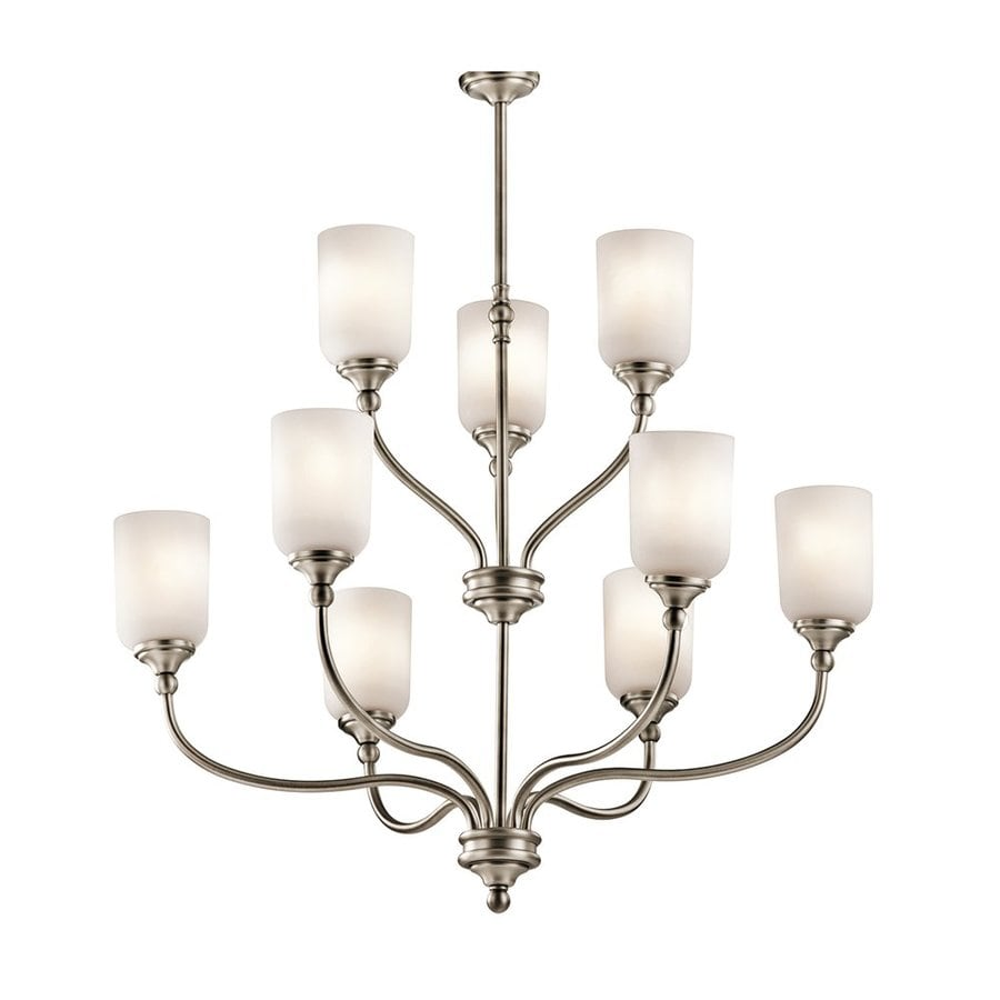 Kichler Lilah 30-in 9-Light Antique pewter Vintage Etched Glass Tiered Chandelier