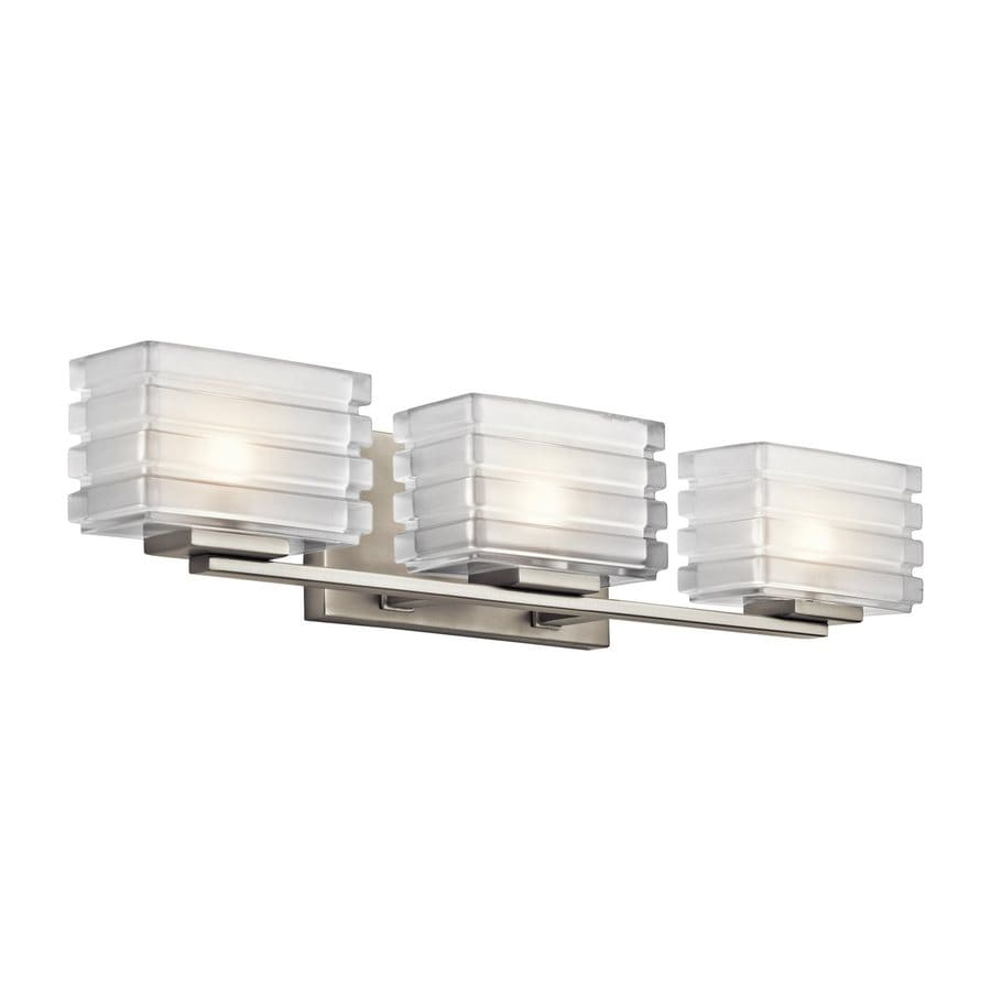 Bathroom vanity lights brushed nickel - Kichler Bazely 3 Light 5 In Brushed Nickel Rectangle Vanity Light