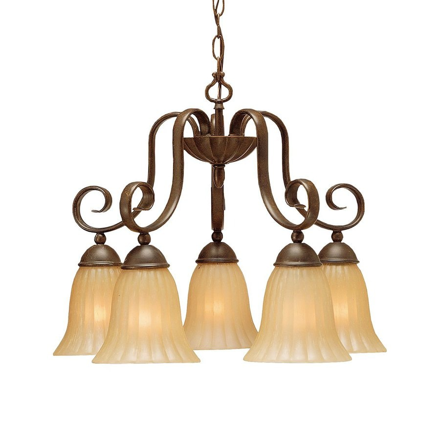 Kichler Willowmore 22-in 5-Light Tannery bronze Mediterranean Etched Glass Shaded Chandelier