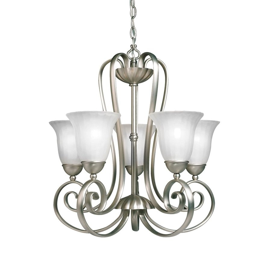 Kichler Willowmore 22-in 5-Light Brushed Nickel Country Cottage Etched Glass Shaded Chandelier