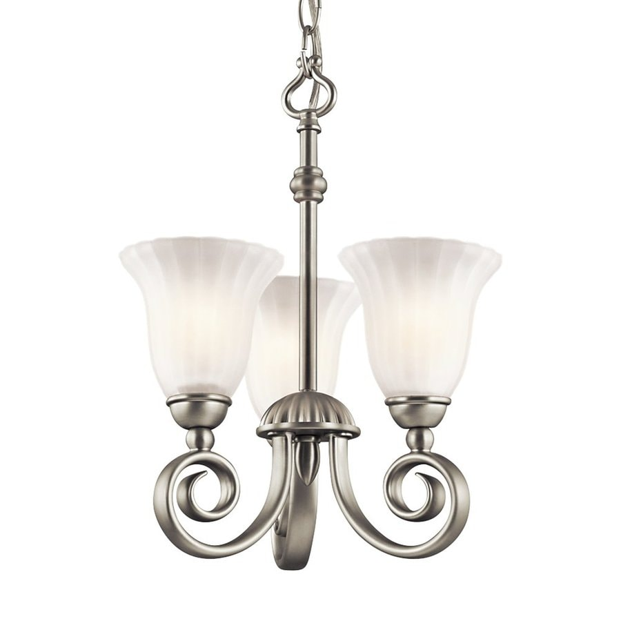 Kichler Willowmore 11.5-in 3-Light Brushed nickel Vintage Etched Glass Shaded Chandelier