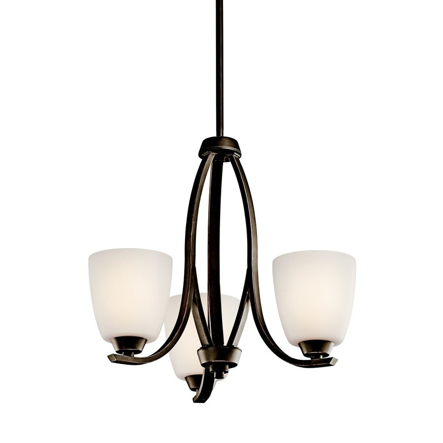 Kichler Granby 19-in 3-Light Olde Bronze Etched Glass Shaded Chandelier