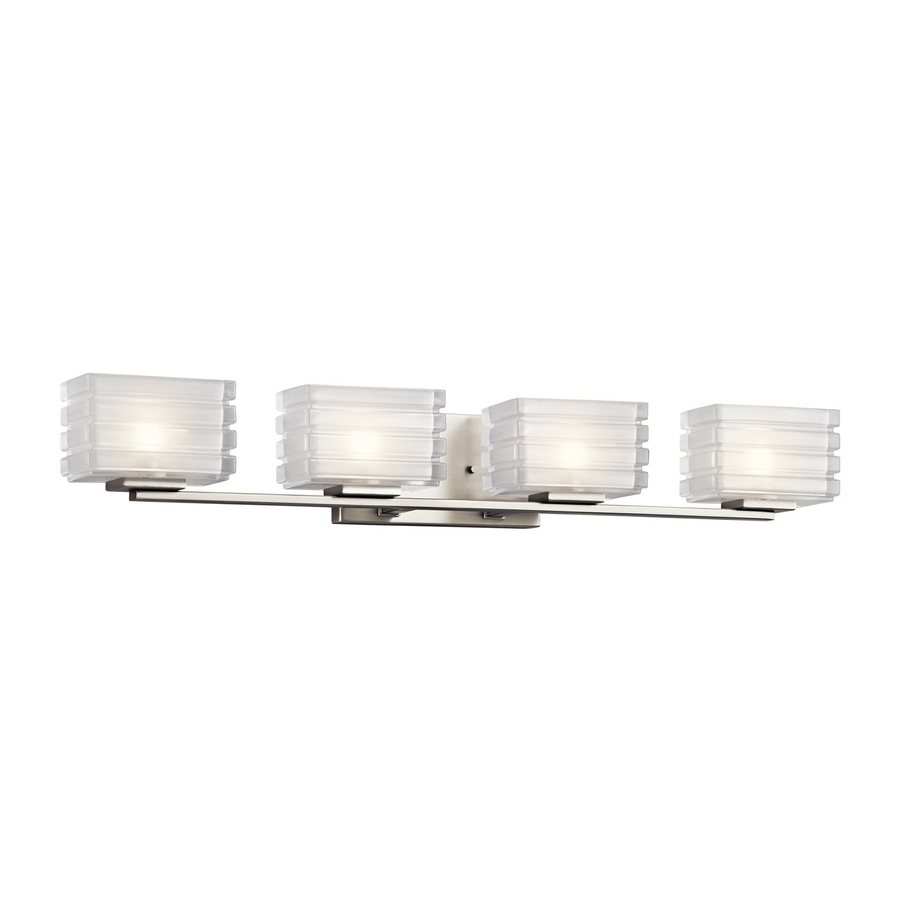 Kichler Lighting Bazely 4-Light Brushed Nickel Rectangle Vanity Light