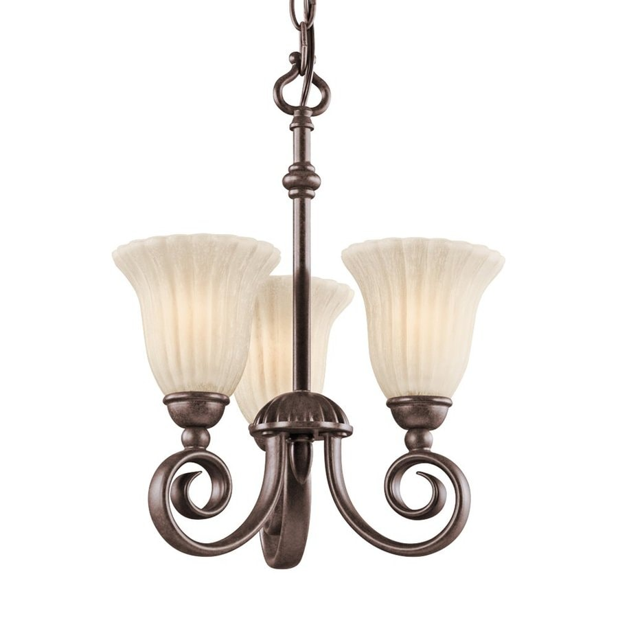 Kichler Willowmore 11.5-in 3-Light Tannery Bronze Vintage Etched Glass Shaded Chandelier