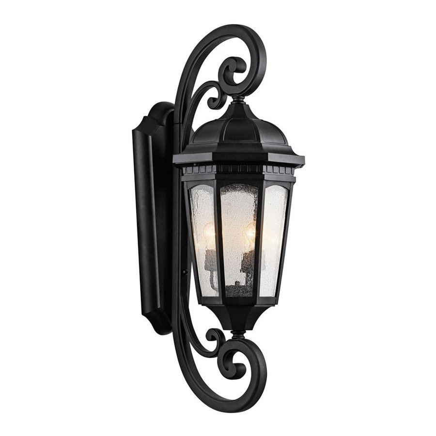 Kichler Courtyard 40.5-in H Textured Black Outdoor Wall Light
