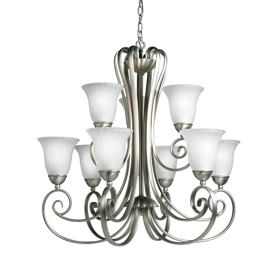 Kichler Willowmore 30.5-in 9-Light Brushed nickel Country Cottage Etched Glass Tiered Chandelier