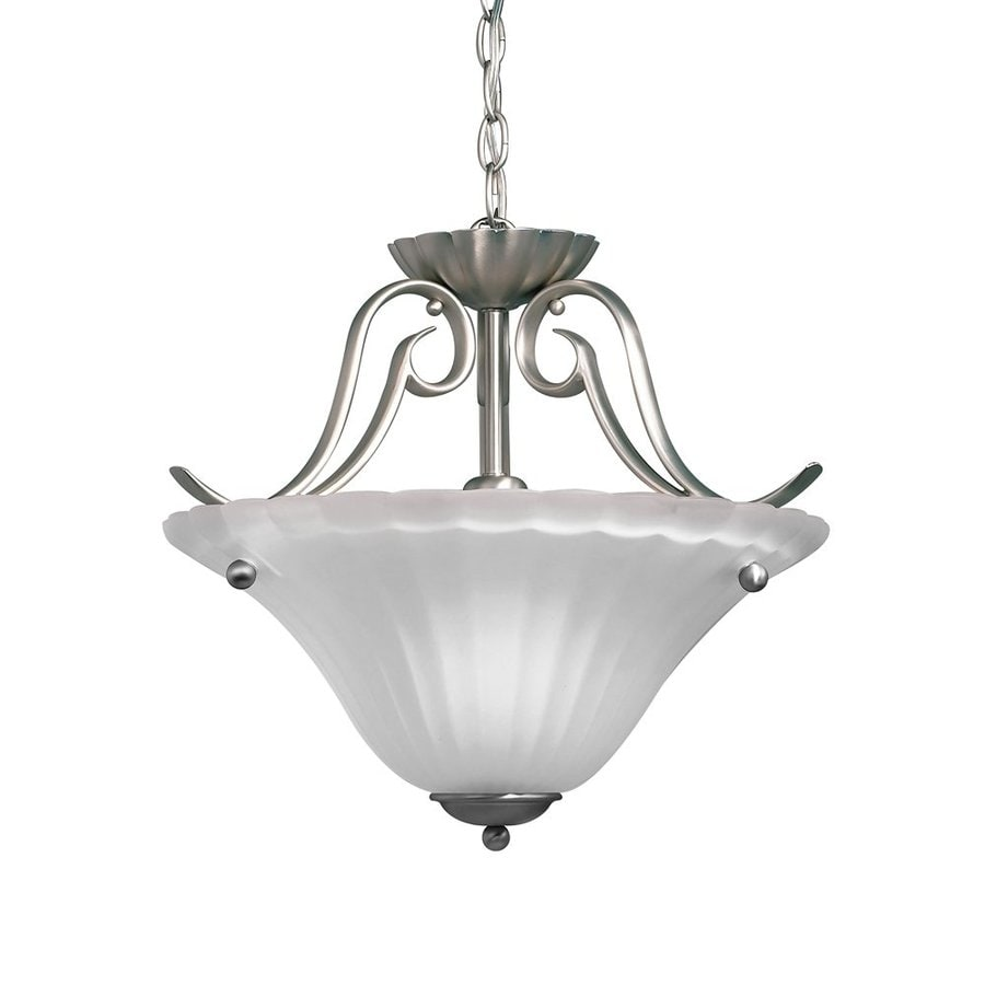 Kichler Lighting Willowmore 16.5-in W Brushed Nickel Etched Glass Semi-Flush Mount Light