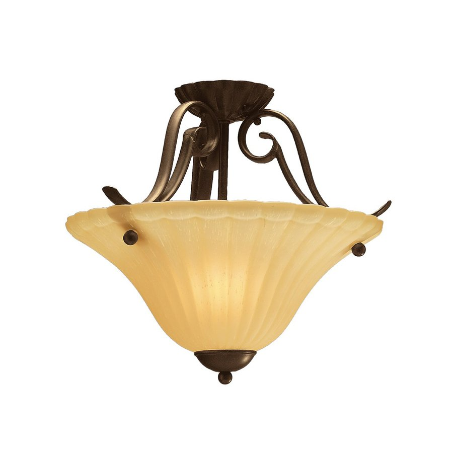 Kichler Willowmore 16.5-in W Tannery Bronze Etched Glass Semi-Flush Mount Light